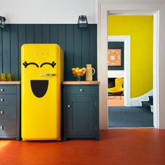 Fridge Sticker, Vinyl Decal for Refrigerator, Freezer , Smiley Face , Kitchen Decoration Can't explain why I like this shade of grey and this shade of yellow together, but DeAnn likes.