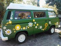 hippie flower power campervan vinyl car stickers