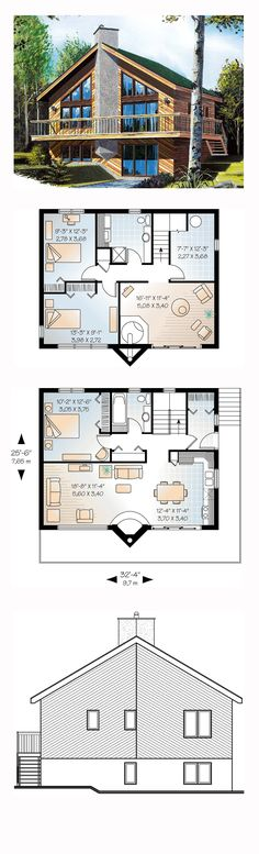 A-Frame House Plan 65007 | Total Living Area: 1648 sq. ft., 3 bedrooms and 2 bathrooms. #aframe