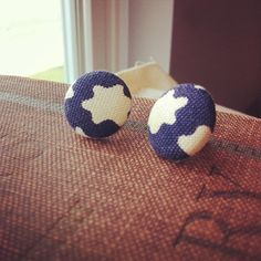 Indigo Skies  Vintage Button Stud Earrings  by thelibraryfaerie, $4.99