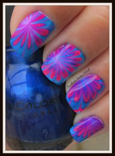Southern Sister Polish: Hot Pink and Navy Water Marble
