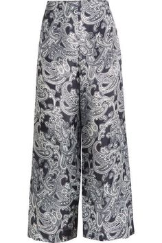 Acne Studios - Tennessee Printed Chiffon Wide-leg Pants - Navy