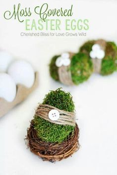 Welcome Spring with these adorable Moss Covered Easter Eggs. Use your Easter Eggs for centerpieces, wreaths, decorations, and so much more! Best Picture For Easter Eggs fillers For Your Taste You are Easter Egg Crafts, Easter Eggs, Diy Osterschmuck, Easter Egg Designs, Easter Ideas, Diy Easter Decorations, Easter Centerpiece, Church Decorations, Easter Celebration