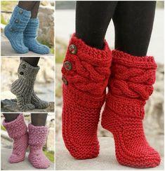 8 free patterns for your winter Knitted & Crochet Slipper Boots , Enjoy :) http://wonderfuldiy.com/wonderful-8-knitted-crochet-slipper-boots-free-patterns/: