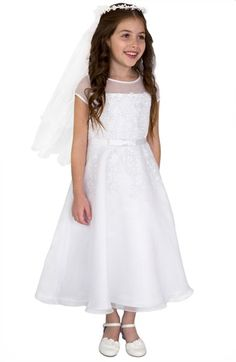 Us Angels Illusion Neckline Fit & Flare Dress (Little Girls & Big Girls) available at #Nordstrom