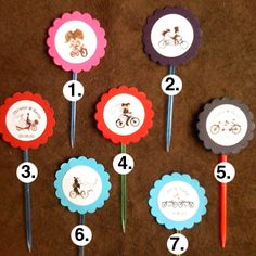 table markers in flower pots? Bicycle Party, Bicycle Wedding, Candy Bags, Tandem, Treat Bags, Flower Pots, Cake Toppers, Markers, Triangle