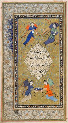 Unknown Artist Calligraphy attributed to Mir Ali al Husayni (flourished 1514-43) Written by Mahmud 'Arifi of Herat (died 1449) Ownership Notes and Stamps (recto), The Angels Who Pray for the King, Introduction (frontispiece painting, verso), folio 1 from an illustrated Manuscript of the Guy u Chawgan by `Arifi, 1523 Manuscript Folio Persian  16th century Safavid period, AH 907-1145 / AD 1501-1732  Creation Place: Herat
