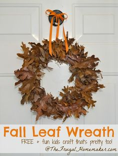 Fall Leaf Wreath (made for free + great for a kids craft)