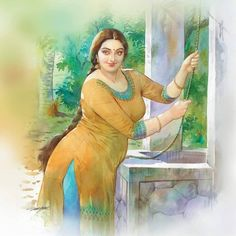 Photo by Cine Times on January Image may contain: 1 person Indian Women Painting, Indian Art Paintings, Awesome Paintings, Sexy Painting, Woman Painting, Potrait Painting, Fantasy Eyes, Indian Art Gallery, Art Tumblr