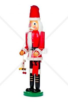 father santa wooden figurine. - Father Santa wooden figurine displayed on white background.