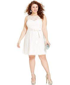 Trixxi Plus Size Sleeveless Lace Illusion A-Line Dress