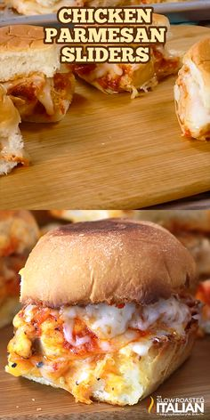 Chicken Parmesan Sliders Chicken Parmesan Sliders with sweet dinner rolls toasted with garlic butter and topped with Parmesan cheese. Slices of pan fried chicken, marinara sauce and piles of mo Best Sandwich Recipes, Slider Recipes Tasty, Best Burger Recipe, Breakfast Sandwich Recipes, Chicken Sandwich Recipes, Sandwich Ideas, Breakfast Bites, Sweet Dinner Rolls, Good Food