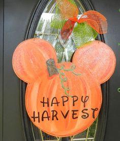 Fall Thanksgiving Disney pumpkin painted Door Hanger.