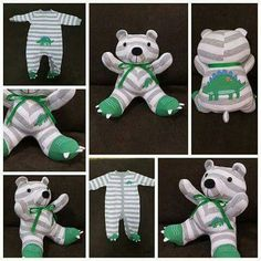 Turn a BABY ONESIE into a STUFFED BEAR....this is the cutest keepsake idea!!  Directions... http://www.popsugar.com/moms/Recycling-Baby-Onesies-Stuffed-Animals-40954230#photo-40954230