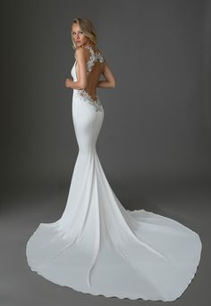 Fitted crepe gown with plunging neckline and crystal-embellished low keyhole back by Pnina Tornai for Kleinfeld. How To Dress For A Wedding, Fit And Flare Wedding Dress, Wedding Dresses For Girls, Sheath Wedding Gown, Backless Wedding, Ball Dresses, Ball Gowns, Dresses Uk, Bridal Gowns