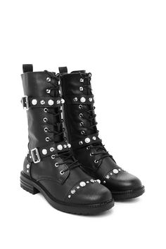 When I move, you move. This boot comes in vegan leather and features a cleated sole, round toe, lace-up design, buckle detailing, pearl and stud embellishment, and inside zip closure.