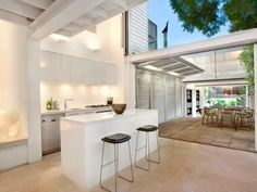 kitchen connected to a courtyard.