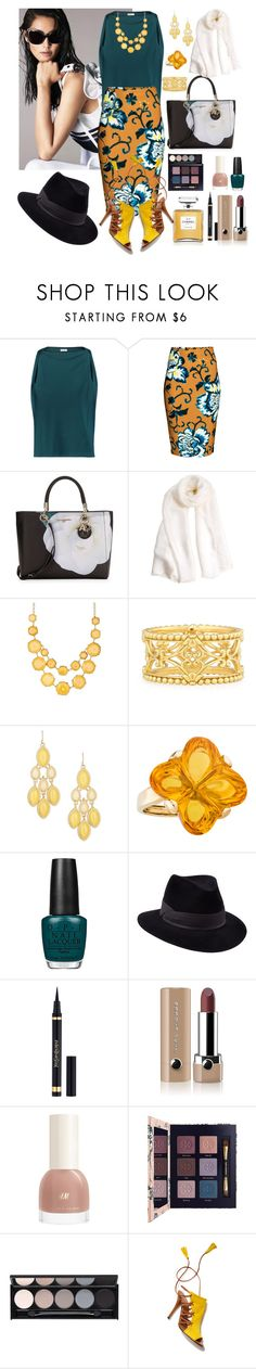 """Teal, Goldenrod and Ivory"" by denibrad ❤ liked on Polyvore featuring La Perla, Vionnet, Karl Lagerfeld, Natasha Accessories, Konstantino, Baccarat, OPI, Penmayne of London, Chanel and Yves Saint Laurent"