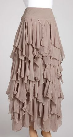 Light Gray Ruffle Tiered Maxi Skirt