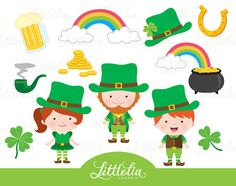 Cute Digital Clipart and DIY printable by LittleLiaGraphic Leprechaun Clipart, San Patrick, Lutin Clipart, St Patricks Day Clipart, Clip Art, Scrapbooking, Simple Doodles, Spring Activities, Stained Glass Projects