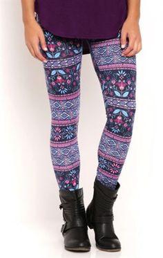 Floral Stripe Tile Print Leggings