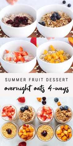 How to make overnight oats – 4 different ways! All four recipes are themed around fruity desserts — strawberry shortcake, peach pie, blueberry cobbler and cherry cheesecake. Overnight Oats Receita, Easy Overnight Oats, Overnight Porridge Recipes, Best Overnight Oats Recipe, Overnight Oats With Yogurt, Blueberry Overnight Oats, Healthy Breakfast Recipes, Healthy Snacks, Healthy Recipes