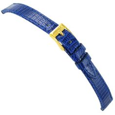 14mm Morellato Genuine Lizard Flat Stitched Blue Ladies Watch Band Regular. Spring Bars Included. Water Resistant. Buckle Size: 12mm. Length: 7.25 inches including buckle. Color: Blue.
