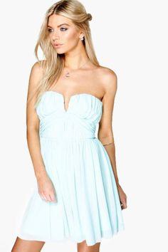 Becky Mesh Rouched Plunge Prom Dress.   dresslover.co.uk