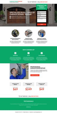 responsive garage door repair service landing page design Real Estate Website Design, Beautiful Website Design, Garage Door Repair, Garage Doors, Best Landing Pages, Garage Door Springs, Appliance Repair, Wordpress Website Design, Landing Page Design