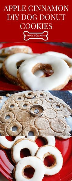 These apple-cinnamon dog donut cookies are shaped like donuts and have the consistency of a biscuit. They are simple to make, healthy, and dogs love them! >>> You can find more details by visiting the image link. Puppy Treats, Diy Dog Treats, Homemade Dog Treats, Homemade Cookies, Dog Treat Recipes, Healthy Dog Treats, Dog Food Recipes, Free Recipes, Dog Cookie Recipes