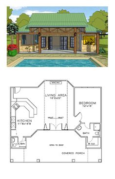 Coastal house plan 57863 total living area 932 sq ft 1 bedroom and 1 5 bathrooms coastalhome Pool House Plans, Tiny House Plans, 1 Bedroom House Plans, Guest House Plans, Small House Plans Under 1000 Sq Ft, Tiny Home Floor Plans, Guest Cottage Plans, Coastal House Plans, Coastal Cottage