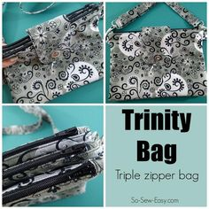 Here's the Trinity bag sewing pattern from So-Sew-Easy. It's a triple zipper bag where you get three bags in one. Easy Sewing Patterns, Bag Patterns To Sew, Handbag Patterns, Tote Pattern, Hat Patterns, Pattern Ideas, Zipper Bags, Zipper Pouch, Sewing Basics