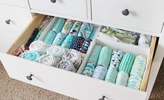 dresser drawer with IEA's Skubb boxes