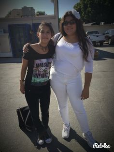 Dressed for the spirit week: Dynamic Duo. My friend Brianna and I dressed as Light and darkness.