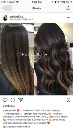 Ombre hair: the most beautiful color gradients and if we dared ombre hair? Brown Hair Balayage, Bayalage, Brown Hair With Highlights, Ombre Hair Color, Hair Color For Black Hair, Dark Hair, Hair Colors, Hair Painting, Brunette Hair