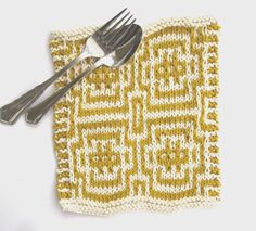The Feminine Touch   UK Knitting / Felting blog: Free Mosaic Pattern for a scrummy cotton dish cloth