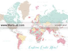 Custom Quote World Map With Countries US States Canadian - World map oceans labeled