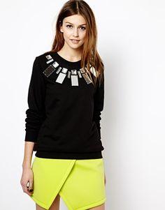 Image 1 ofMarkus Lupfer Jewelled Sweatshirt with Mirror Necklace