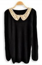 Black Sequined Lapel Long Sleeve Pullovers Sweater (Lexi)