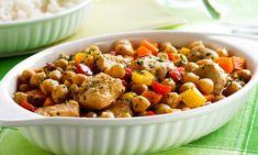 Grão-de-bico com frango e legumes
