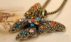 Wholesale Retro colorful Diamond hollow butterfly necklace CZ diamond charm necklaces jewelry hot sale, Free shipping, $1.59-2.29/Piece | DHgate
