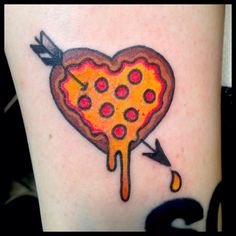 #pizza #heart #traditional #tattoo by Tracy Martino Tattoo For my man. I love you more than pizza!