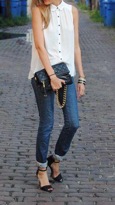 F21 top, J Brand jeans (similar), Zara heels, Marc Jacobs bag (old, but this year's version here), Karen Walker sunglasses, Tory Burch bracelet (c/o RewardStyle)