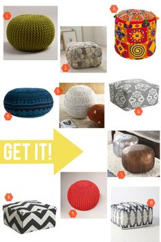 Add whimsical style to any room with a fun and colorful pouf. See our favorites on Style Spotters: http://www.bhg.com/blogs/better-homes-and-gardens-style-blog/2013/03/04/pin-it-get-it-poufs/?socsrc=bhgpin030513poufs