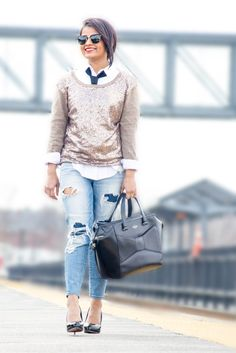 Love Playing Dressup, Neha Gandhi, Kate Spade Beau Bag, Distressed denim, destroyed jeans, androgynous,  tie, ootd, boston blogger, railway station, photo shoot, sequins sweater, office wear, what to wear to work, work wear, semi formal attire, street style