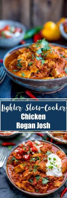 This Healthier Slow Cooked Spicy Chicken Rogan Josh is just the. This Healthier Slow Cooked Spicy Chicken Rogan Josh is just the thing when youre trying to be good. Syn free on Slimming world! Gluten free too. Healthy Slow Cooker, Slow Cooker Recipes, Crockpot Recipes, Cooking Recipes, Batch Cooking, Slow Cooker Slimming World, Slimming World Recipes Syn Free, Slimming World Curry, Slimming Wirld