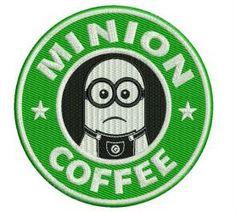 Minion coffee machine embroidery design. Machine embroidery design. www.embroideres.com