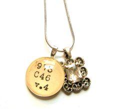 Silver Rhinestone Dewey Decimal Necklace by writtennerd on Etsy, $25.00