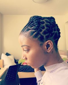 This hairstyle is super dope and I love it. I'll have to try it on my own locs ™ Short Dreadlocks Styles, Short Locs Hairstyles, Dreadlock Styles, Black Girls Hairstyles, Twist Hairstyles, Cool Hairstyles, Locs Styles, Hairstyles 2016, Latest Hairstyles