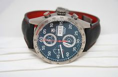 """#stardiamond I call this our """"Iron Man Watch""""!! Tag Heuer Titanium & Leather Carrera Calibre 16 Watch Check it out! http://r.ebay.com/76kKCX"""